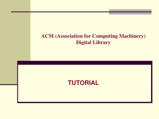 ACM (Association for Computing Machinery) Digital Library