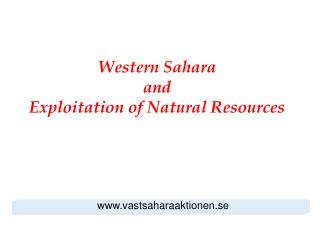 Western Sahara and  Exploitation of Natural Resources