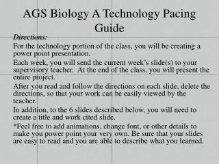 AGS Biology A Technology Pacing Guide