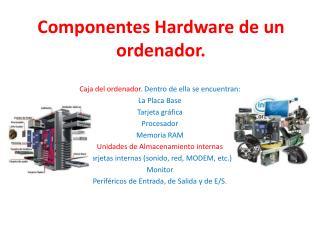 Componentes Hardware de un ordenador.