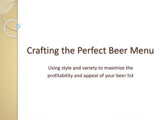 Crafting the Perfect Beer Menu