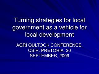 Turning strategies for local government as a vehicle for local development