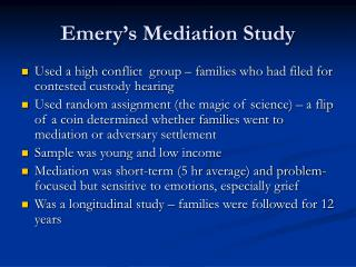Emery's Mediation Study