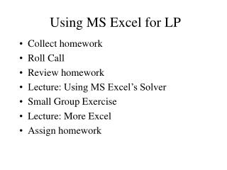 Using MS Excel for LP