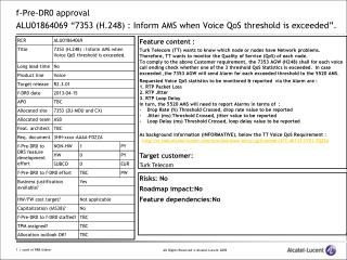 "f-Pre-DR0 approval  ALU01864069 ""7353 (H.248) : Inform AMS when Voice QoS threshold is exceeded""."