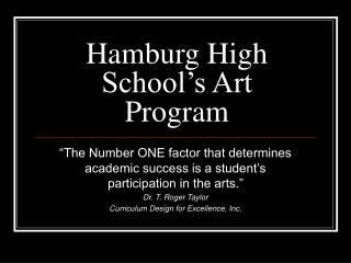 Hamburg High School's Art Program