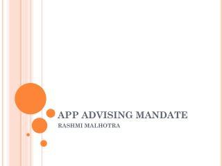 APP ADVISING MANDATE