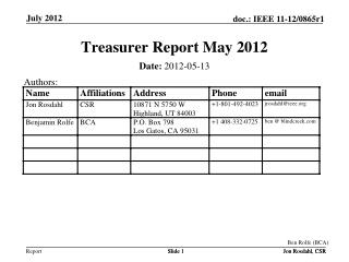 Treasurer Report May 2012