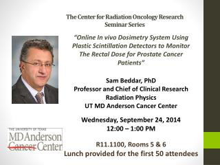 The Center for Radiation Oncology Research  Seminar Series