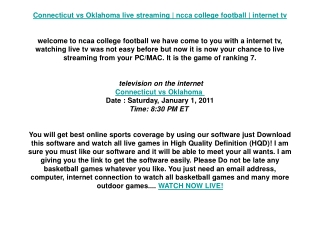 Connecticut vs Oklahoma live streaming | ncca college footba