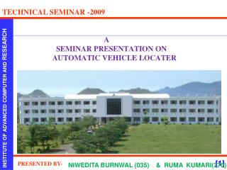 A                 SEMINAR PRESENTATION ON                AUTOMATIC VEHICLE LOCATER