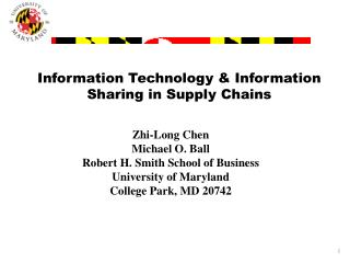 Information Technology & Information Sharing in Supply Chains