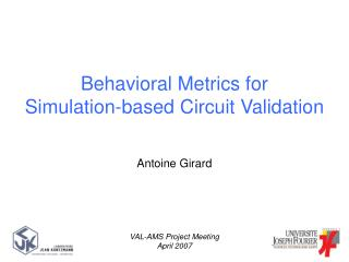 Behavioral Metrics for Simulation-based Circuit Validation