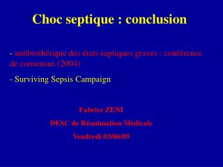 Choc septique : conclusion