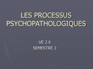 LES PROCESSUS PSYCHOPATHOLOGIQUES