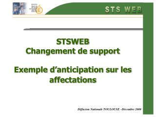 STSWEB Changement de support Exemple d'anticipation sur les affectations