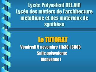 Le TUTORAT        Vendredi 5 novembre 11h30-13H00           Salle polyvalente