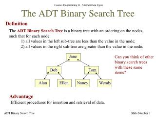 The ADT Binary Search Tree