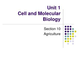 Unit 1 Cell and Molecular Biology