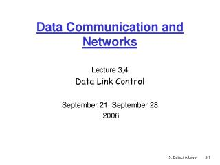 Data Communication and Networks