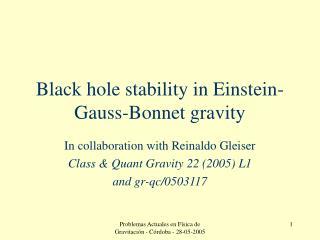 Black hole stability in Einstein-Gauss-Bonnet gravity