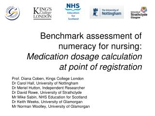 Benchmark assessment of numeracy for nursing: Medication dosage calculation  at point of registration