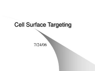 Cell Surface Targeting