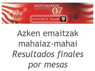 Azken emaitzak mahaiaz-mahai  Resultados finales por mesas
