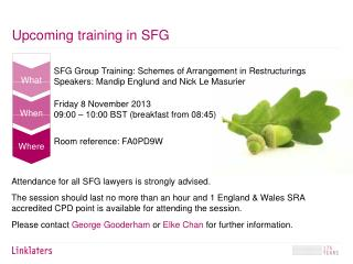 Upcoming training in  SFG