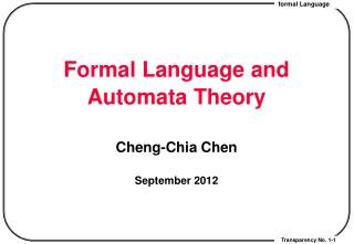Formal Language and Automata Theory