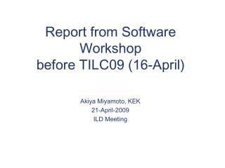 Report from Software Workshop  before TILC09 (16-April)