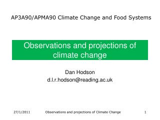 Observations and projections of  climate change