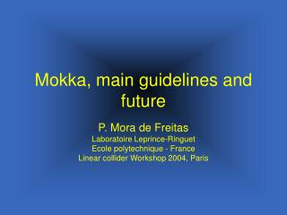 Mokka, main guidelines and future