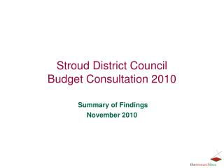 Stroud District Council Budget Consultation 2010