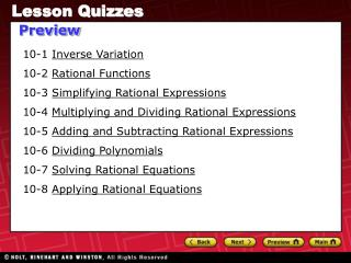 10-1  Inverse Variation 10-2  Rational Functions 10-3  Simplifying Rational Expressions