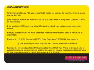 DVD & BLU RAY TIPS