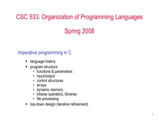 CSC 533: Organization of Programming Languages Spring 2008