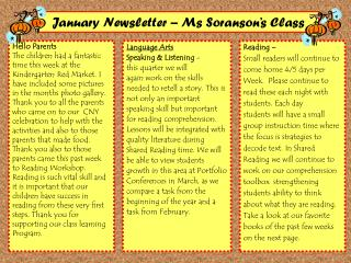 January Newsletter � Ms Soranson�s Class