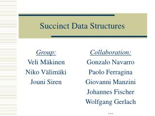 Succinct Data Structures