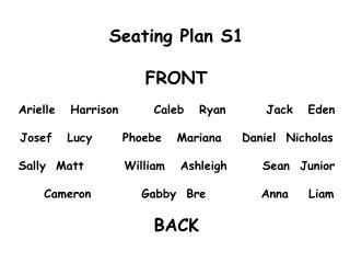 Seating Plan S1 FRONT Arielle   Harrison       Caleb   Ryan        Jack   Eden
