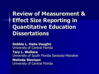 Review of Measurement  Effect Size Reporting in Quantitative Education Dissertations