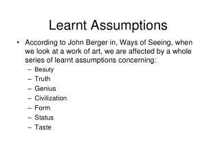 Learnt Assumptions