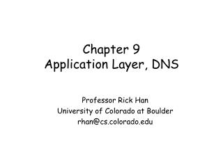 Chapter 9 Application Layer, DNS