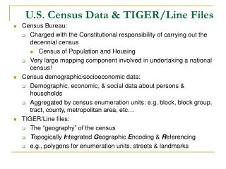 U.S. Census Data & TIGER/Line Files