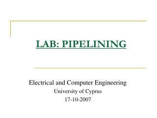 LAB: PIPELINING