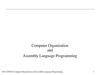 Computer Organization and Assembly Language Programming