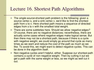 Lecture 16. Shortest Path Algorithms