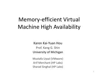 Memory-efficient Virtual Machine High Availability