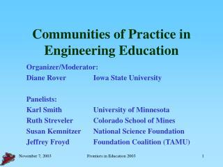Communities of Practice in Engineering Education