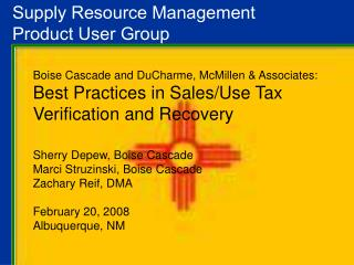 Supply Resource Management  Product User Group